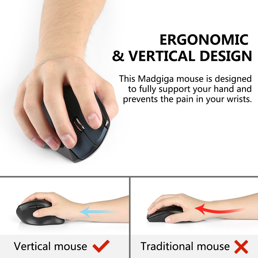 Madgiga WM - 791 Lightweight Ergonomic Vertical Mouse