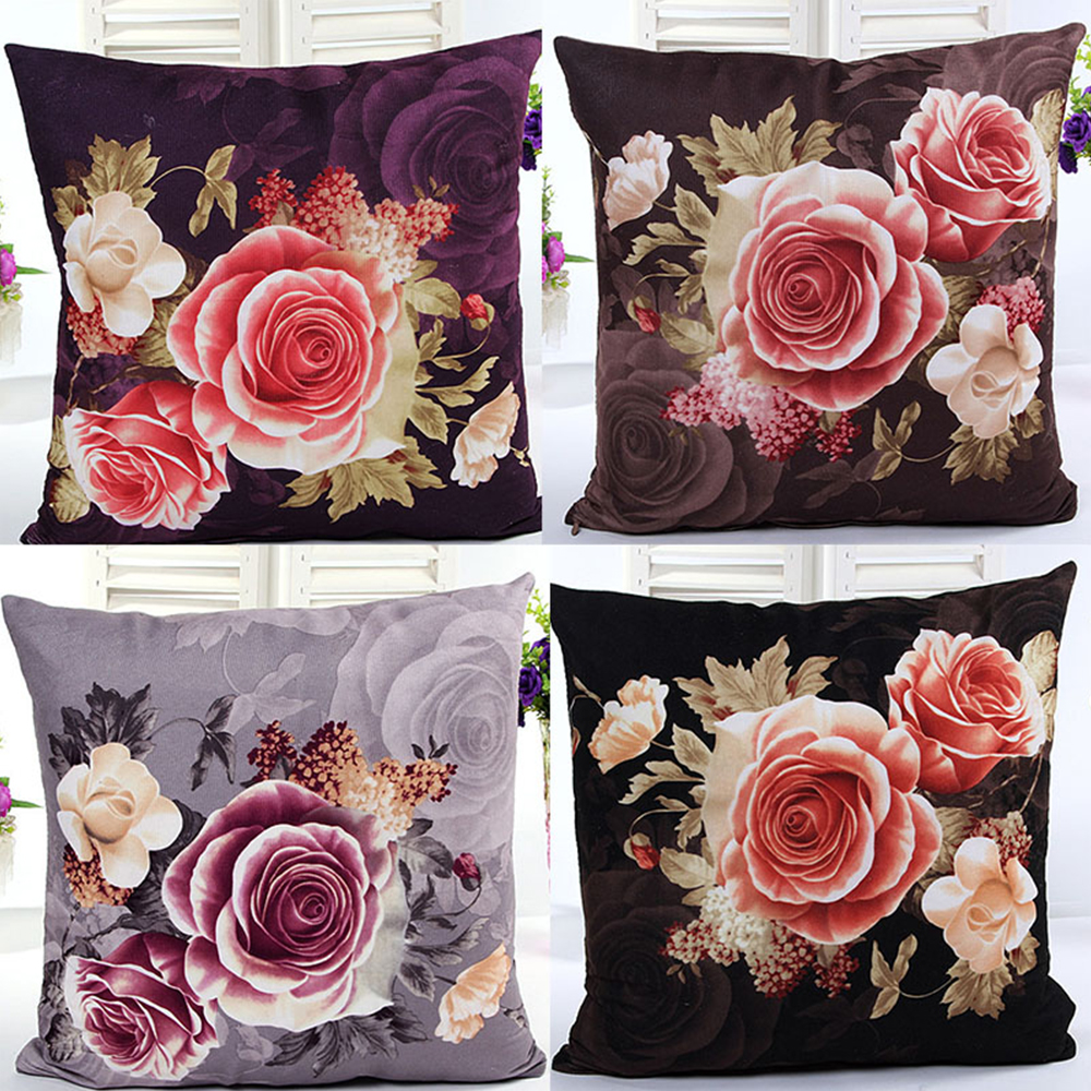 Super Soft Location Printing And Dyeing Peony Cushion Cover