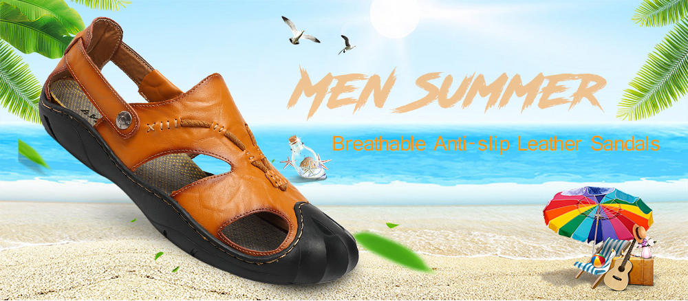 Leisure Summer Breathable Anti-slip Leather Sandals for Men