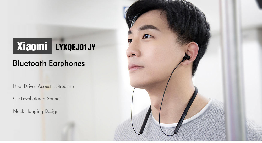 Xiaomi LYXQEJ01JY Bluetooth Earphones Necklace Sports Earbuds - Black