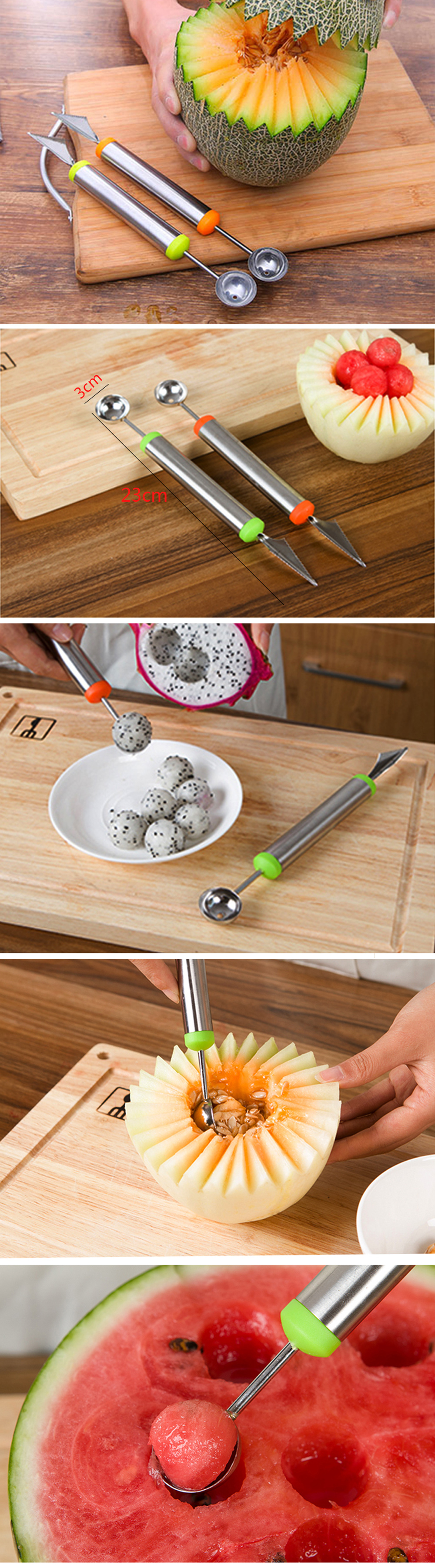 Stainless Steel Dual-Purpose Fruit Carving Knife