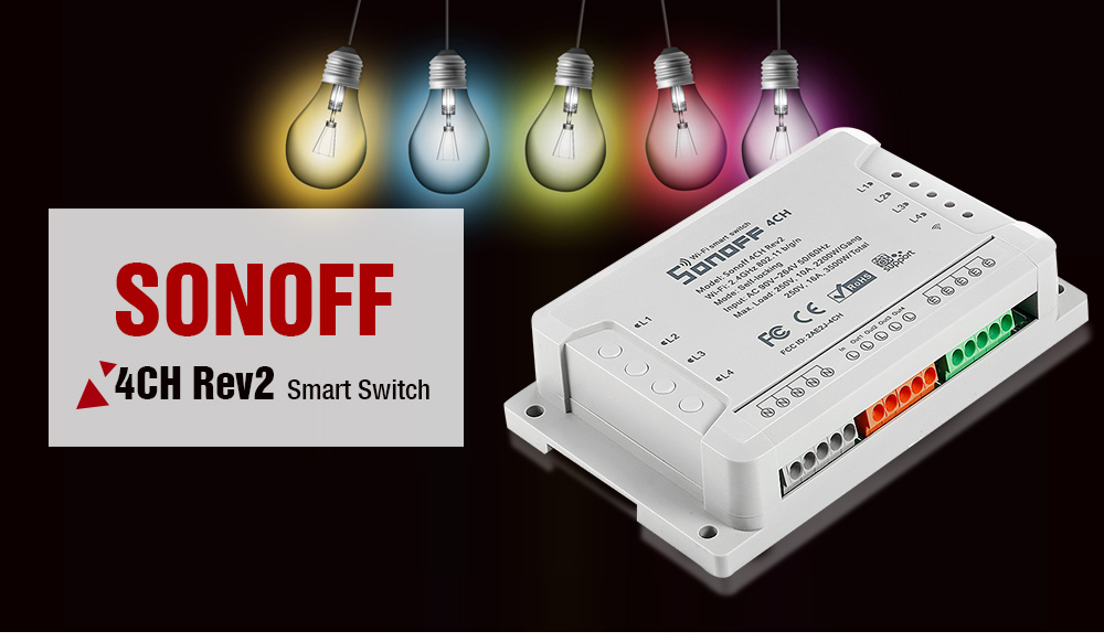 SONOFF 4CH Rev2 4 Channel Wireless WiFi Smart Switch  - Gray