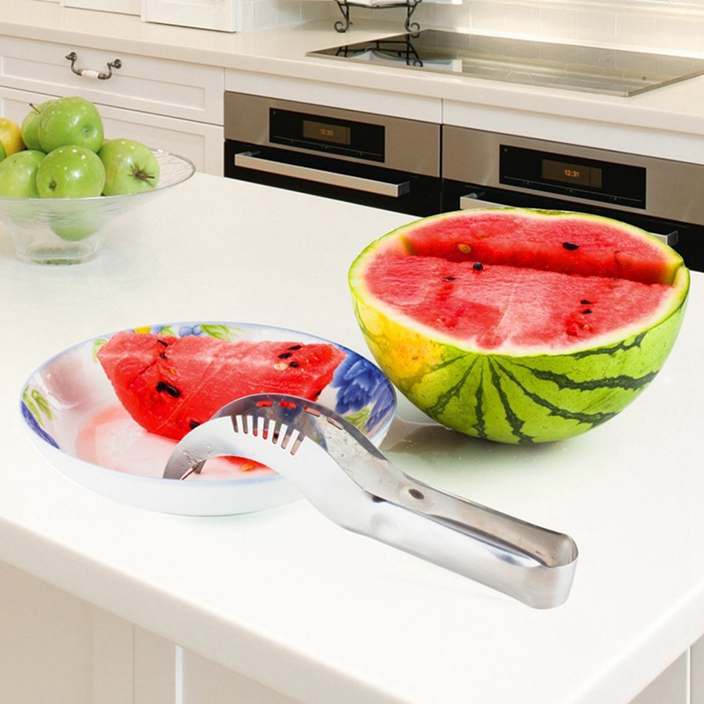 Stainless Steel Watermelon Slicer Fruit Vegetable Cutting Kitchen Tool- Silver