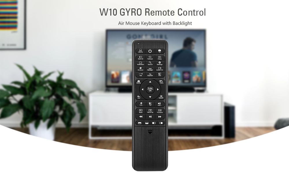 W10 GYRO 2.4GHz Wireless Remote Control Air Mouse Keyboard with Backlight