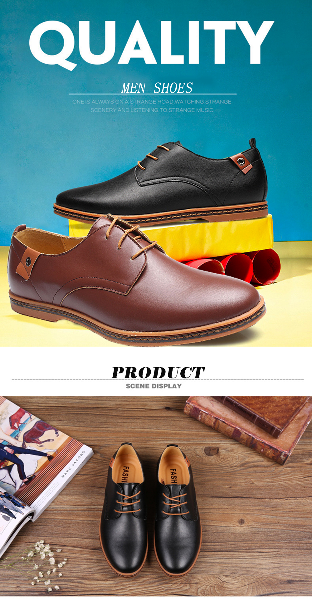 Men Casual Big Size Business Lace Up Flat Oxford Shoes