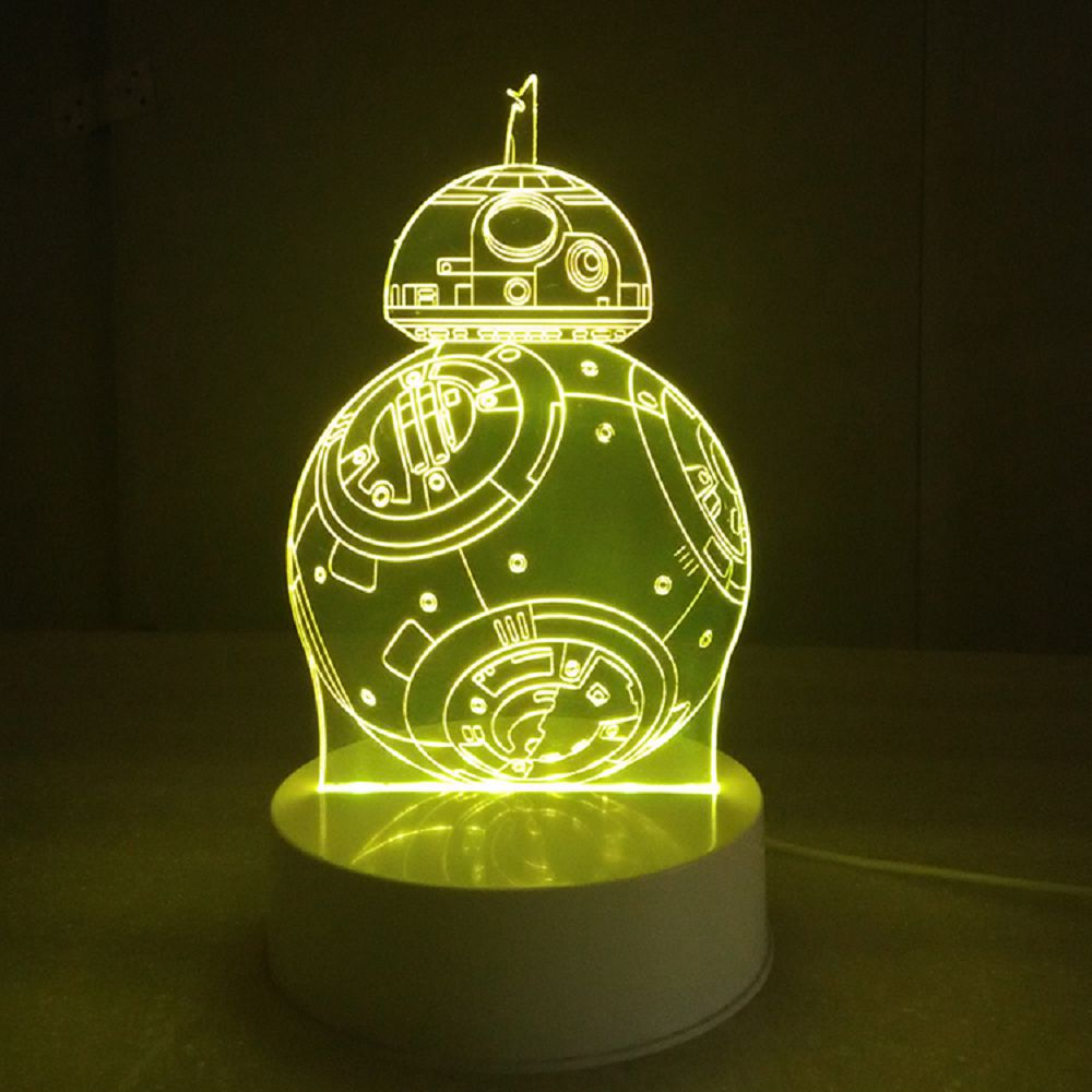 3D Lamp Visual LED Table Night Light Robot Shape Multi Color Lamp ...