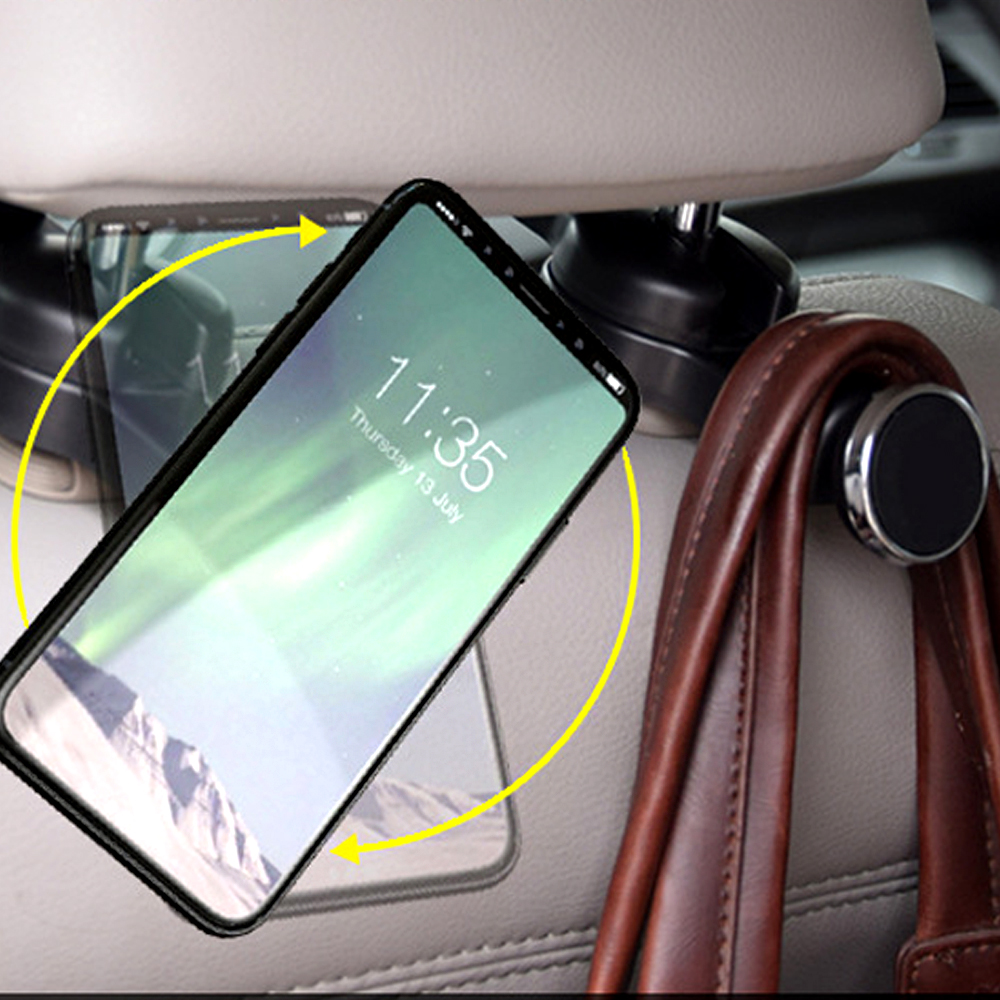 C Magnetic car seat back with dual hook mobile phone holder