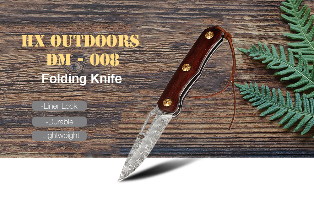 008 Folding Knife With Liner Lock Wood Color Knives, Swords & Blades New Hx Outdoors Dm