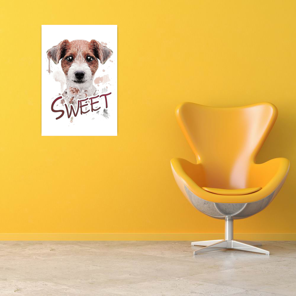 W026 Sweet Dog Unframed Wall Art Canvas Prints for Home Decoration