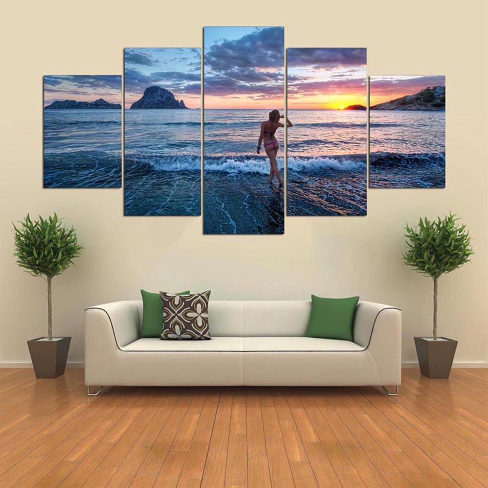 YSDAFEN 5pcs Panel HD modern Beautiful Woman Sunset  Art Print Canvas Art
