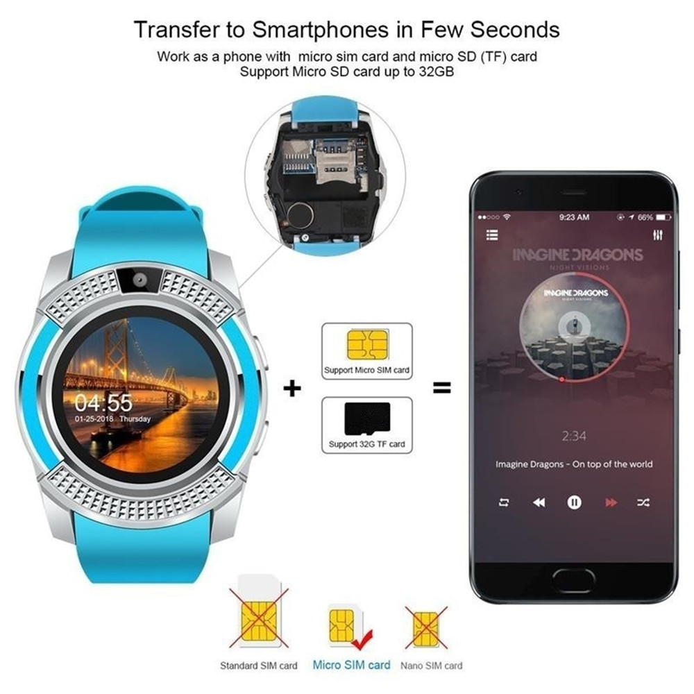 65b2f4acaed V8 Smart Watch Support Sim TF Card Bluetooth Clock with Camera for  Smartphone- White