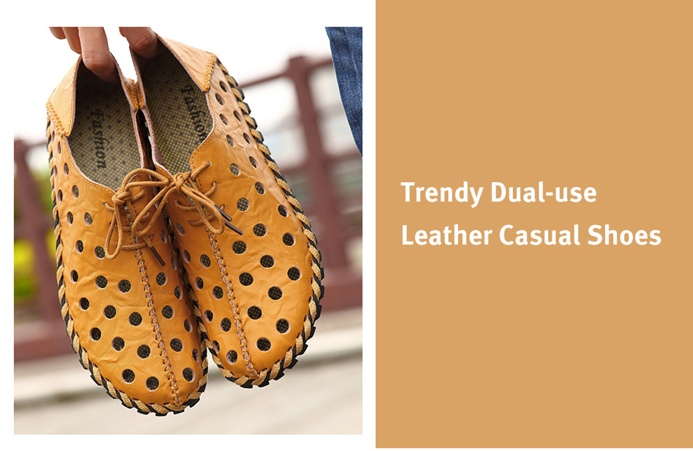 Trendy Hollow Dual-use Leather Casual Shoes for Men
