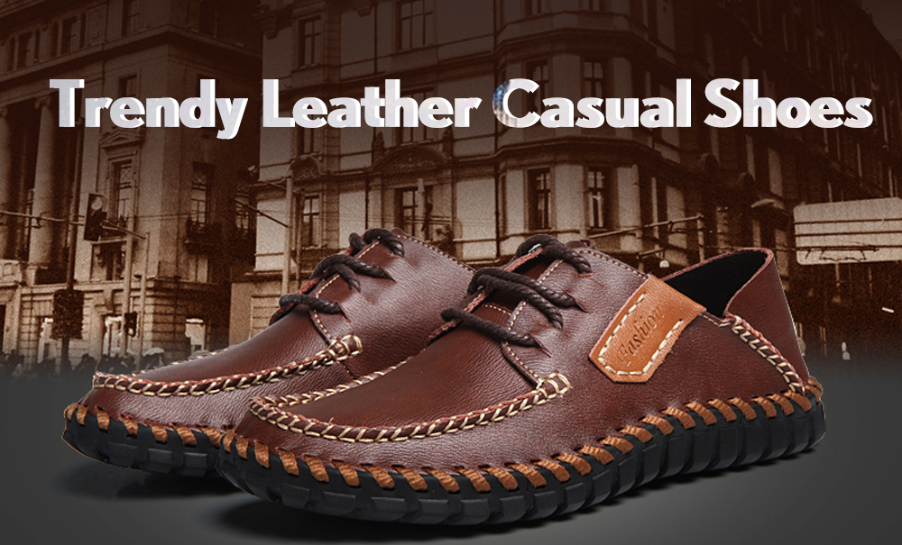 Trendy Anti-slip Leather Casual Shoes for Men