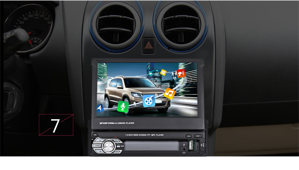 9601G 7inch Single DIN Scalable Screen Multimedia Player with European Map