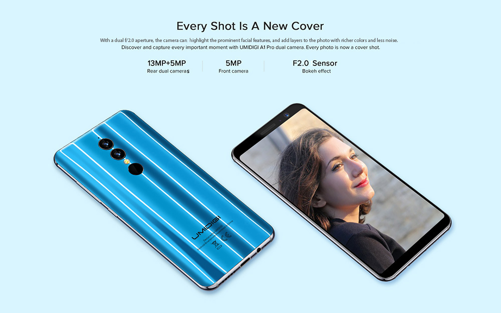 UMIDIGI A1 Pro 4G Phablet 5.5 inch Android 8.1 MTK6739 Quad Core 1.5GHz 3GB RAM 16GB ROM 3150mAh Battery 13.0MP + 5.0MP Dual Rear Cameras Fingerprint Recognition Type-C - Blue