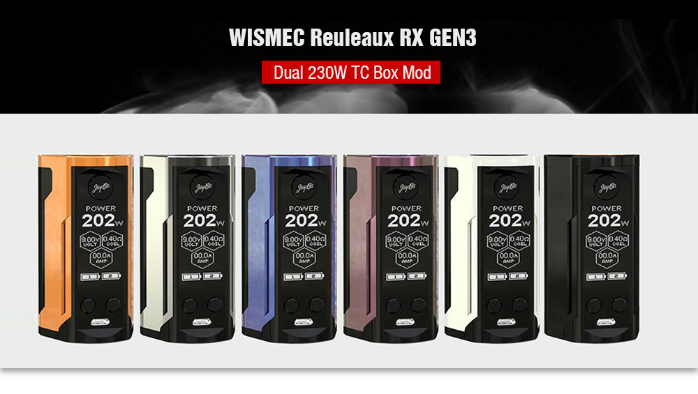 WISMEC Reuleaux RX GEN3 Dual 230W TC Box Mod Colors Available