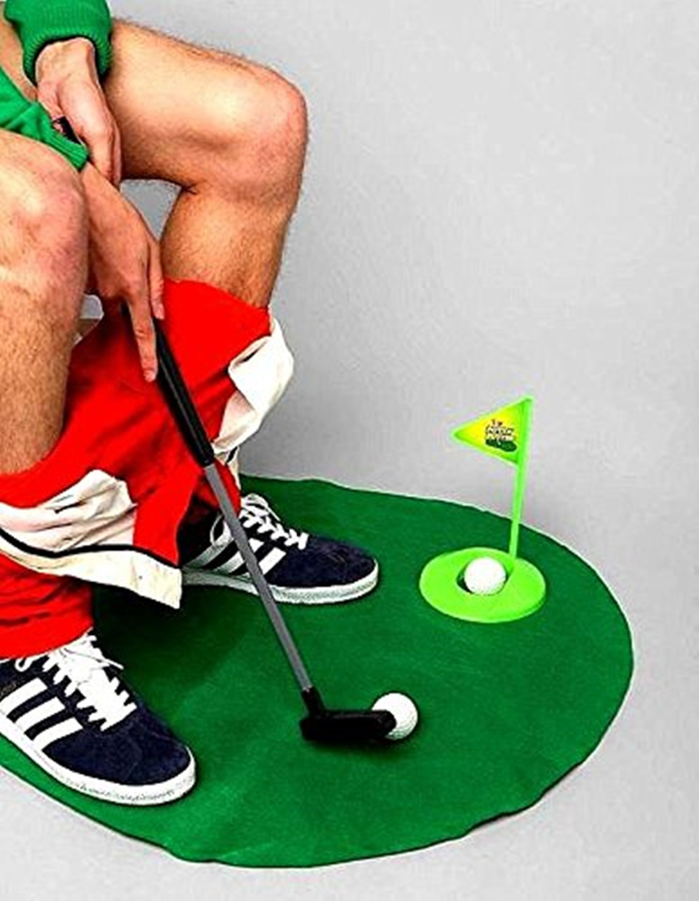 Bathroom Toilet Golf Game Novelty Putting Mat Gift Toy Trainer Set
