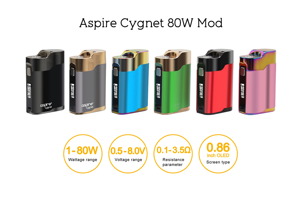 Aspire Cygnet 80W Mod Supporting 1pc 18650 Battery for E Cigarette