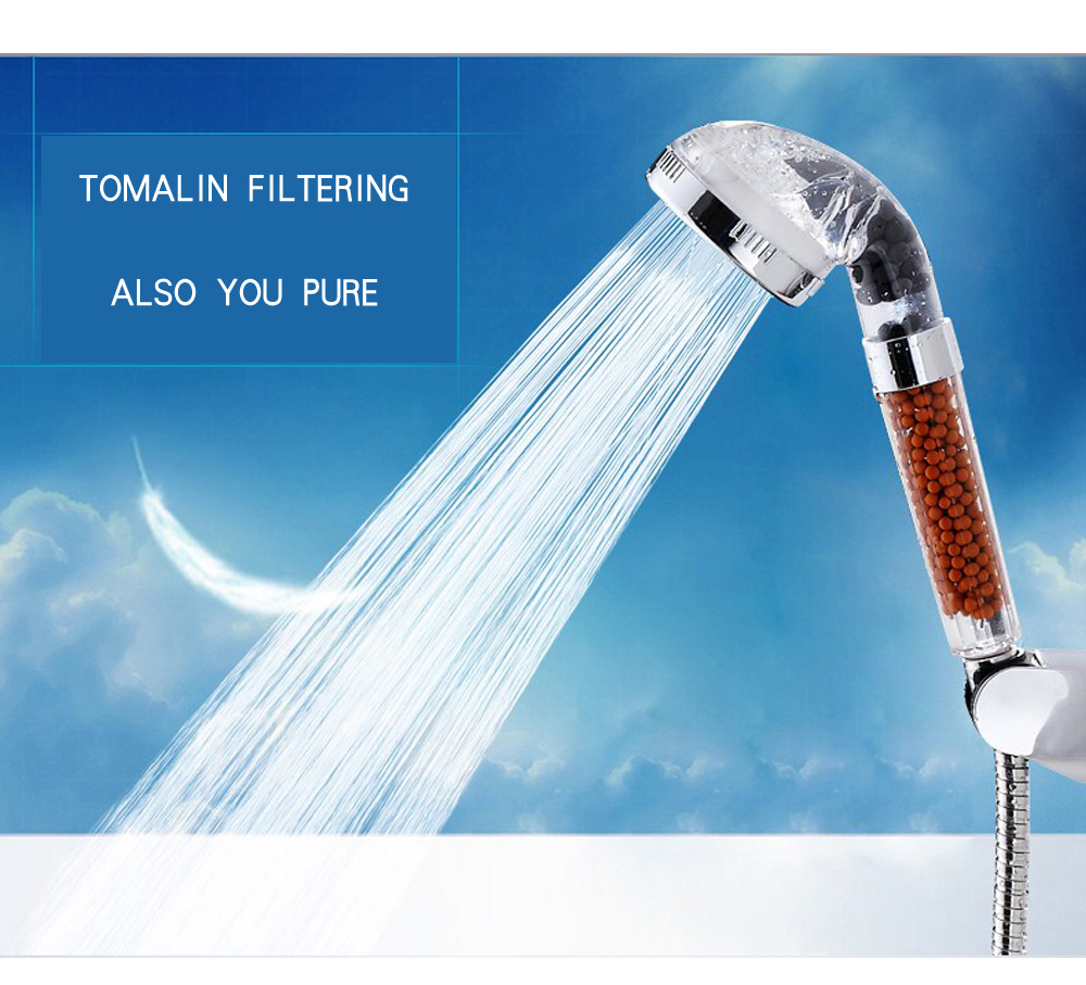 Water Saving Shower Head Anion SPA Filtration Handheld Nozzle- Blue Green L