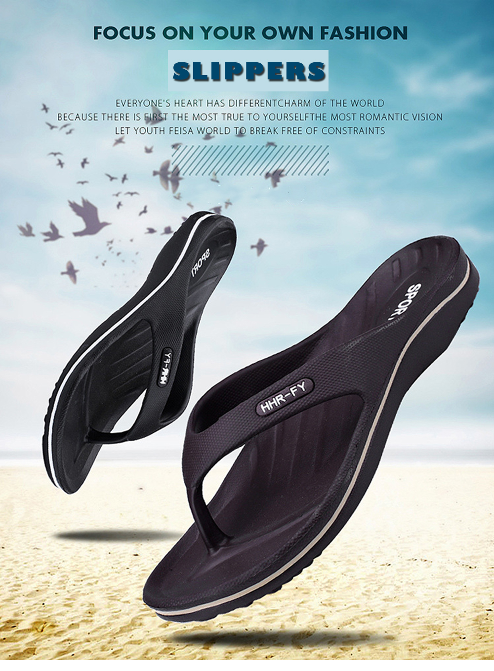 Summer New Home Flip-flop Non-slip Casual Slippers for Men