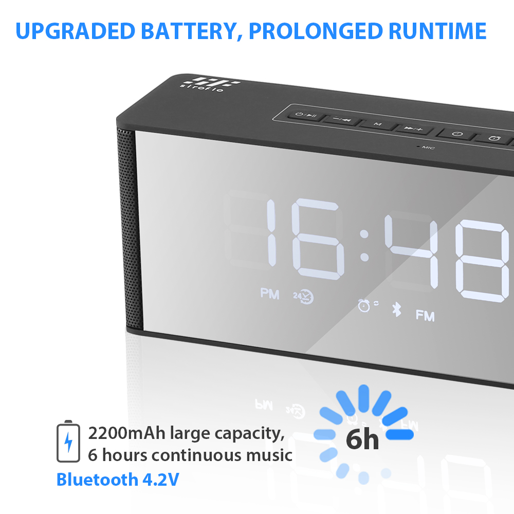 siroflo LP - 06 Alarm Clock Bluetooth Speaker- Black