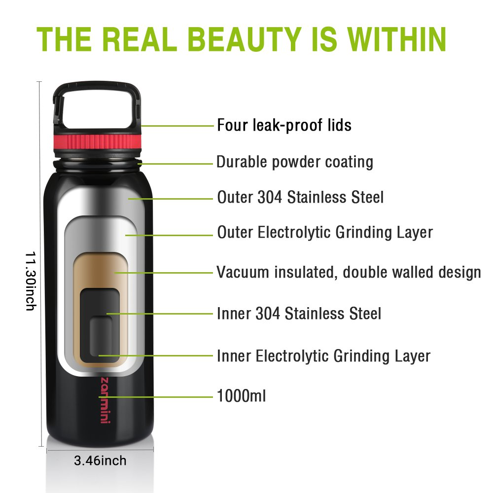 zanmini BZ12 - 1000 Multifunctional Sport Water Bottle 1000ML - Black