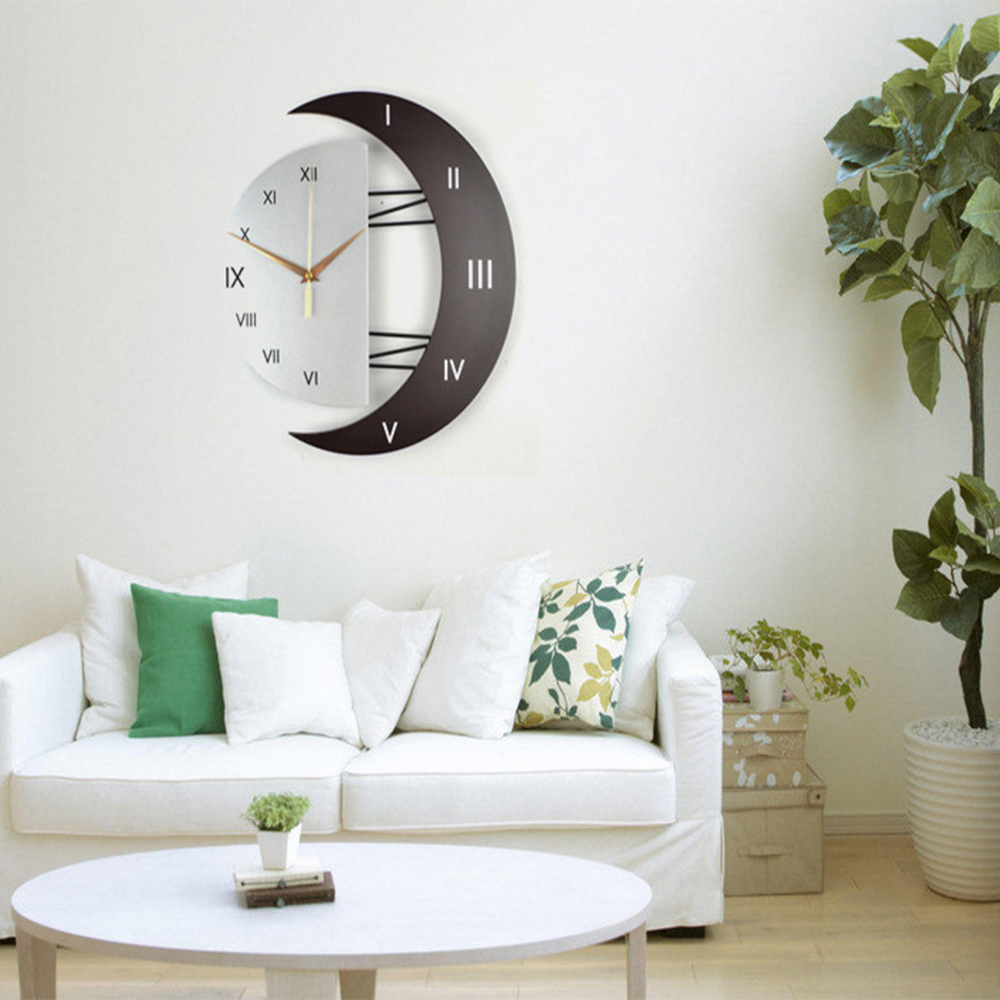 Modern Clocks For Living Room.Modern Living Room Decorative Creative Star Moon Style Wooden Board Wall Clock