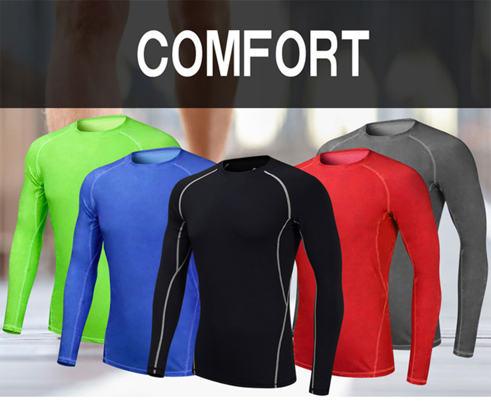 Men'S Tights  Fitness Gym Train Sport Suit Running Bodybuilding T-Shirt