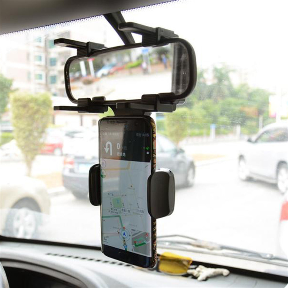 Mobile Phone Holder Rearview Mirror Vehicle Mounted Phone Stand- Black
