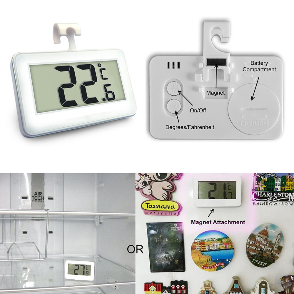Mini Frost Alarm Digital Refrigerator Thermometer with LCD Display for Home Restaurant Bar