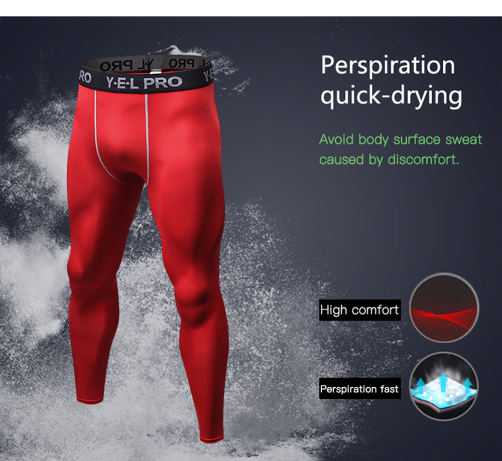 6182c9f4a207c Men Quick Dry Tights Athletic Train Leggings Fitness Gym Sports Running  Pants- White S