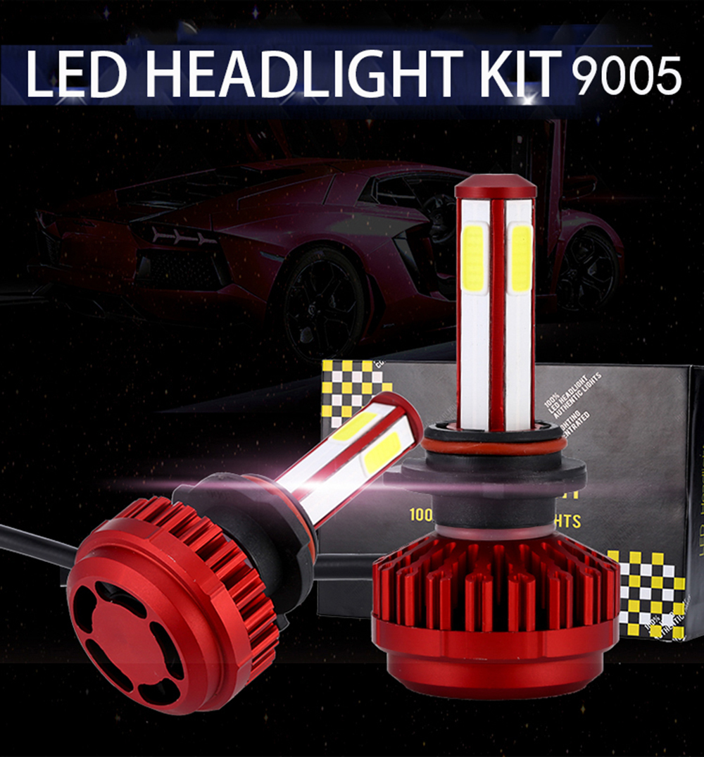 2PCS Z10 9006 6000K 4-side LED Headlight Car White Light Lamp Bulb