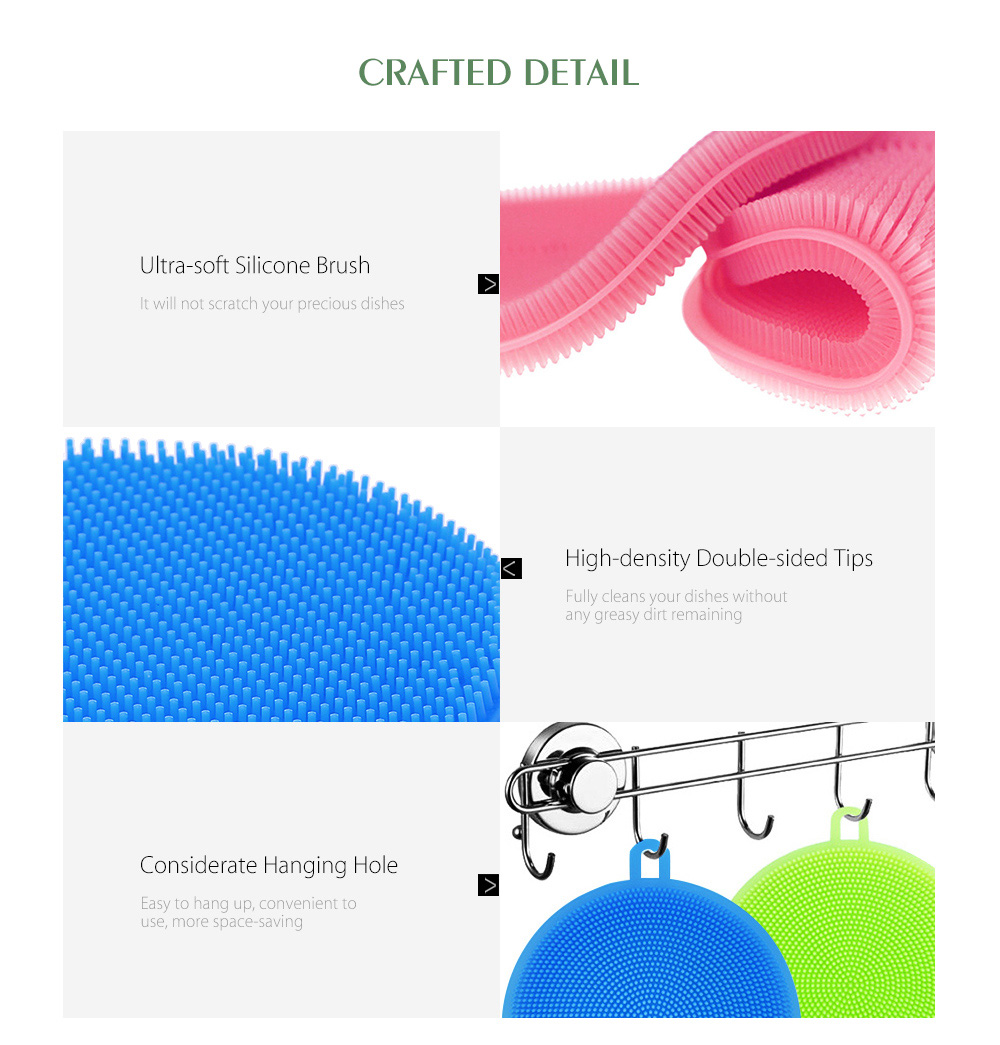 Multi-purpose Vegetables Fruits Dish Silicone Antibacterial Kitchen Cleaning Brush Pad - Blue