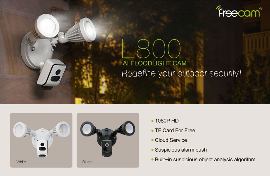 FREECAM L800 AI Security Motion-Activated HD Security Wall Light Camera