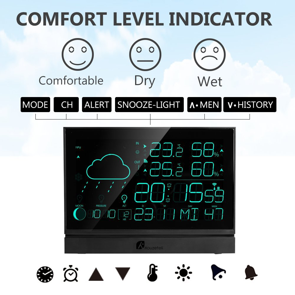 Houzetek 5006b Weather Station 5135 Free Shipping Digital Multifunction Temperature Humidity Meter With Clock Alarm Date Week Calender Htc 2 Black Us Plug Pin