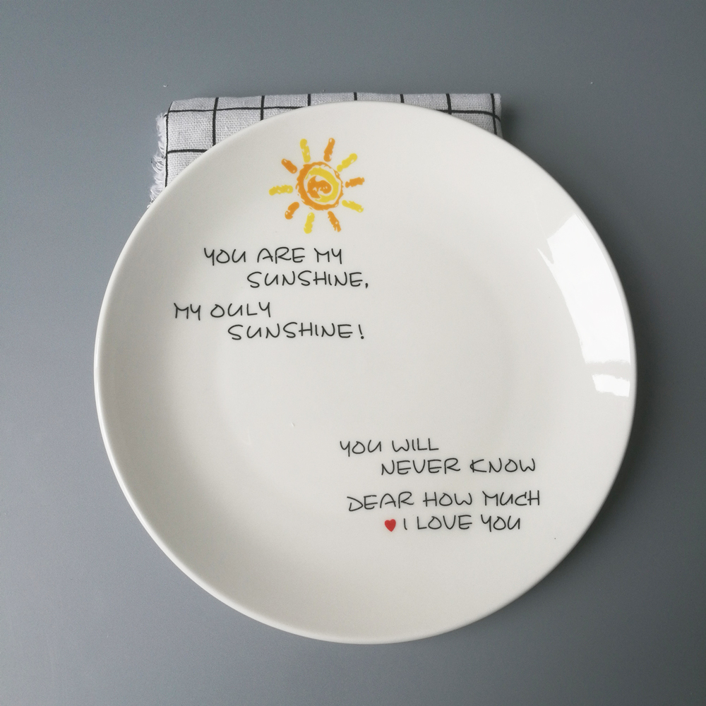 Nordic Style Sun Pattern Ceramic Dinner Plate Round Dish