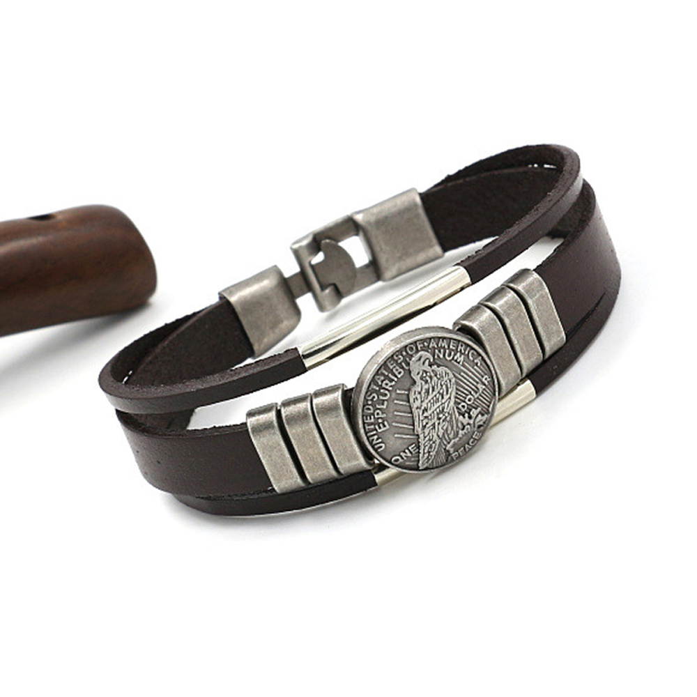 Simple Leather Bracelet 01291 Ornaments Gifts- Brown