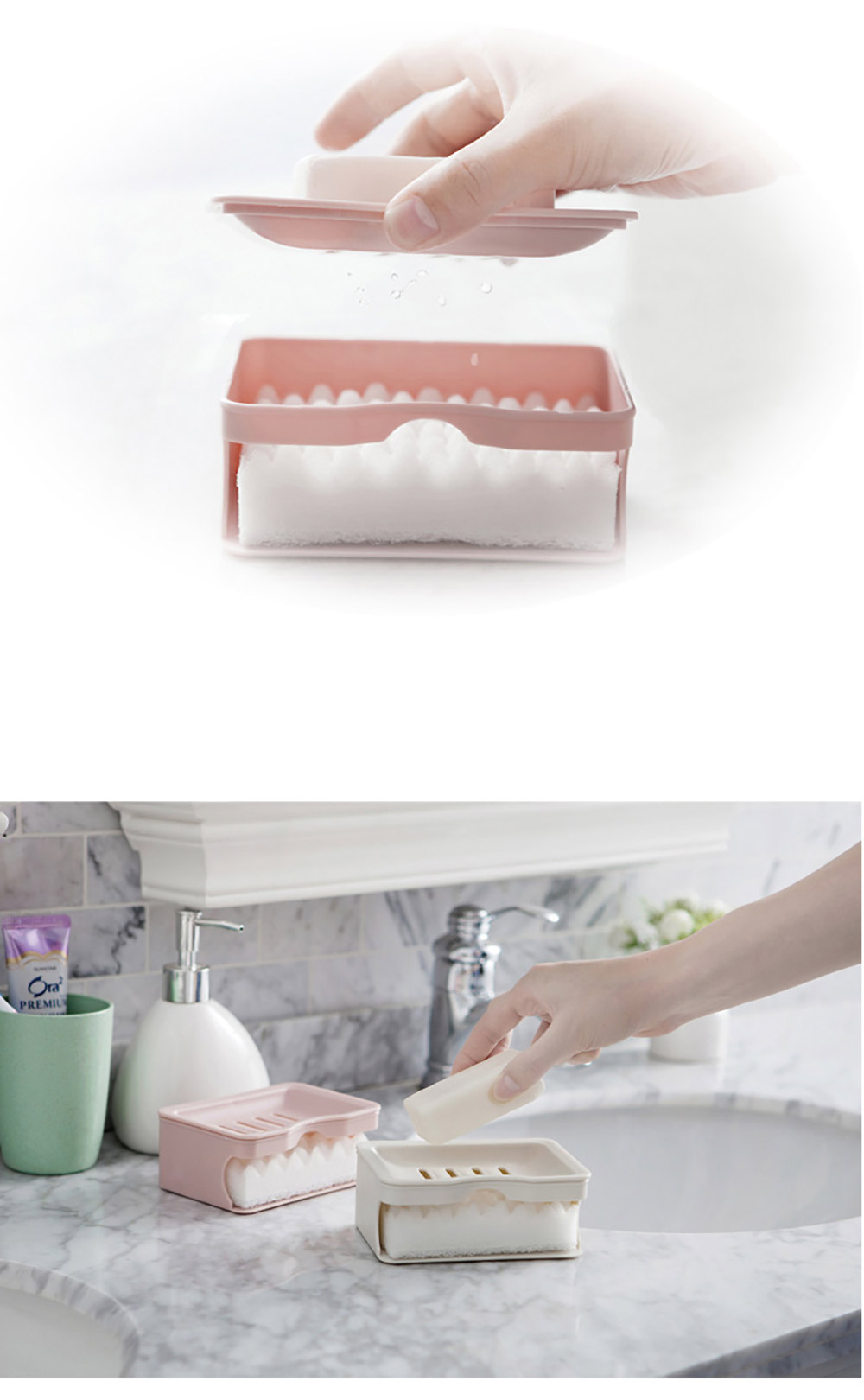 Bathrooms Double Soap Box- Pink
