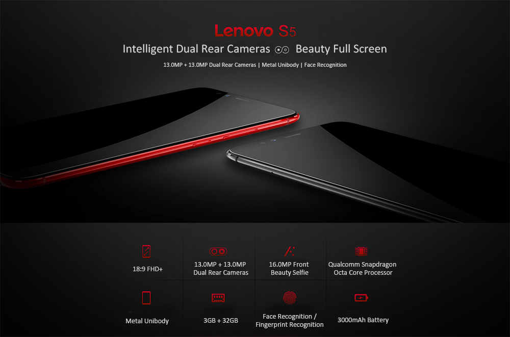 Lenovo S5 4G Phablet 5.7 inch ZUI 3.7 Qualcomm Snapdragon 625 Octa Core 2.0GHz 3GB RAM 32GB ROM 16.0MP Front Camera Fingerprint Recognition Face ID