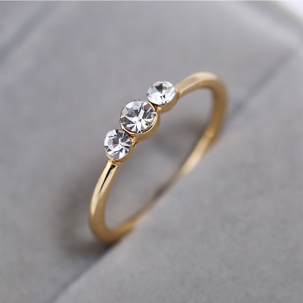 c394825b94 Simple Rhinestone Couple Ring- Yellow US Size 6