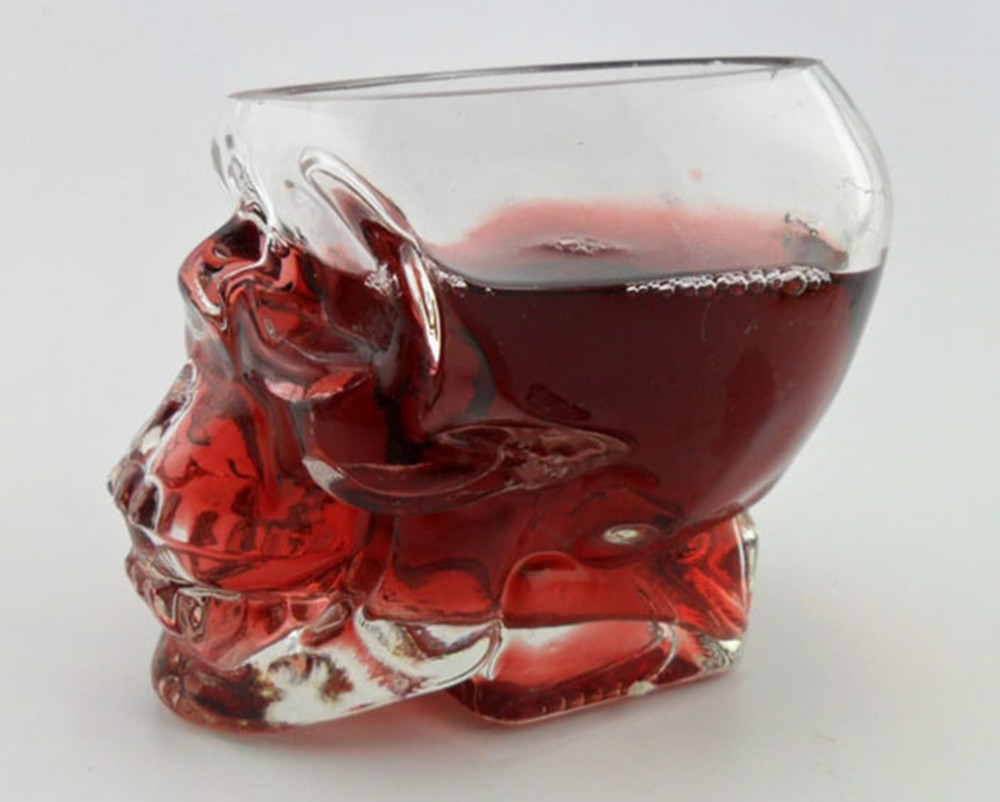 Crystal Skull Whiskey Glass Cup Drinking Ware Bar- Transparent