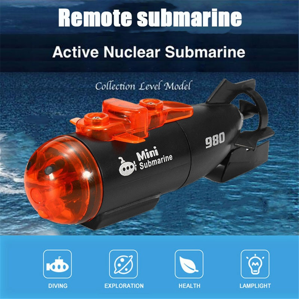 Mini Micro Radio Remote Control RC Submarine Ship Boat with LED ...