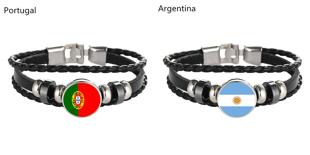 Flag Pattern Design Memorial Woven Leather Bracelet