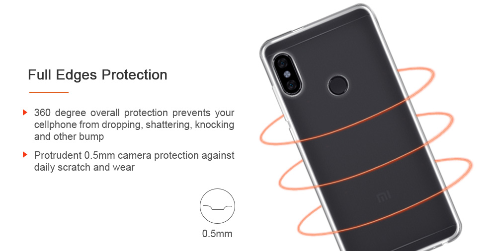 Luanke Ultra-thin Shatter-resistant TPU Phone Protective Case for Xiaomi Redmi Note 5