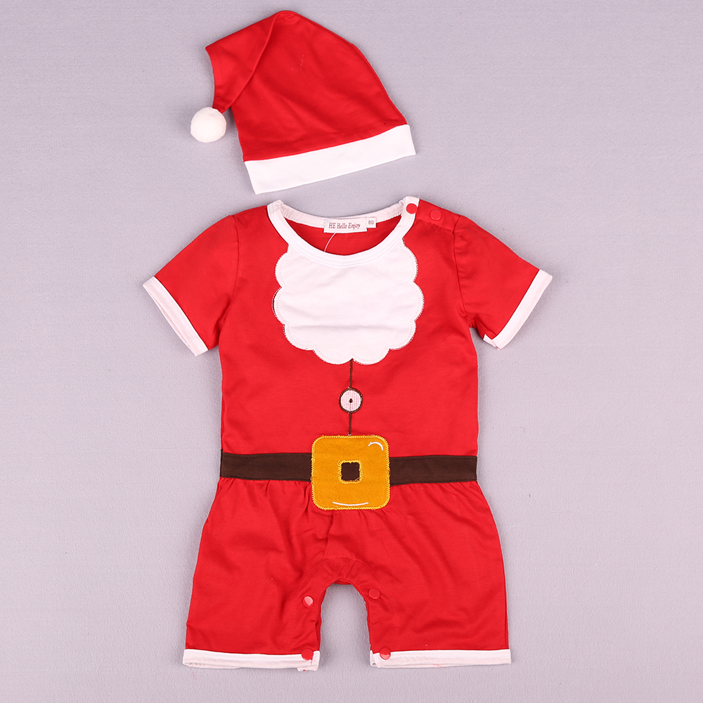 a2ab71cf6 Baby Clothes Set Short Sleeve Red Santa Claus Jumpsuit + Hat- Love Red 95