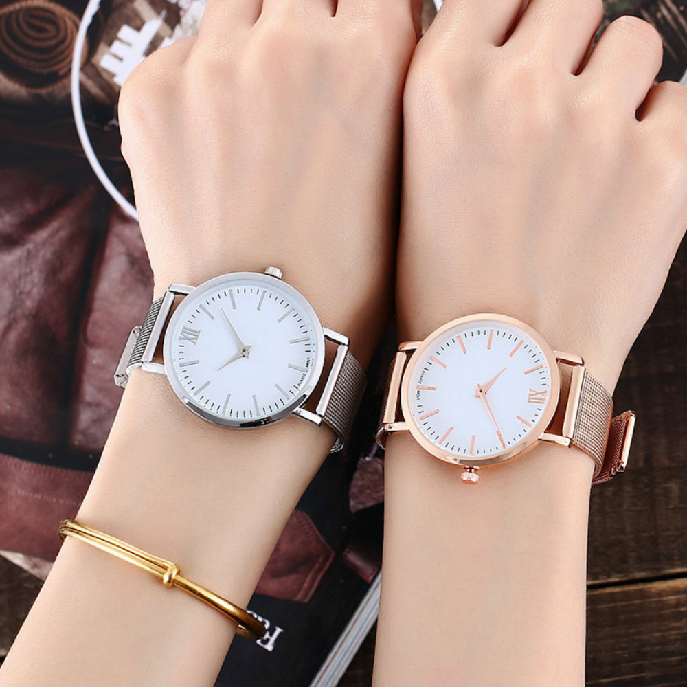 New Rome Minimalist Net with Fashionable Ultra-thin Quartz Watch- Silver