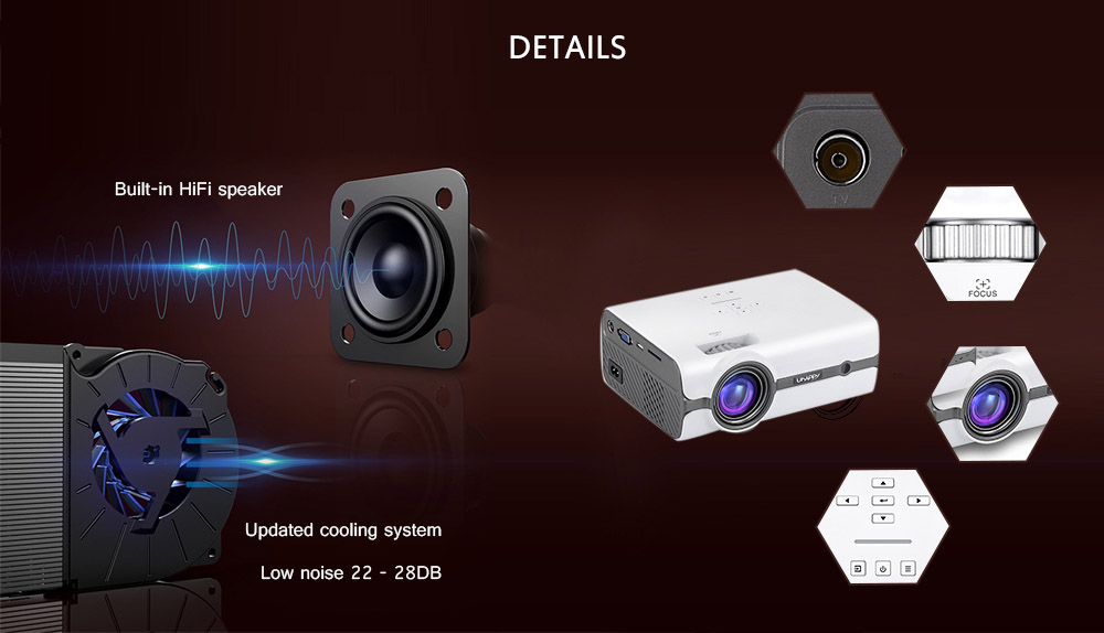Uhappy A11 LCD 2000 Lumens Home Theater Mini Projector Support HD 1080P HDMI VGA AV USB Xbox for Laptop