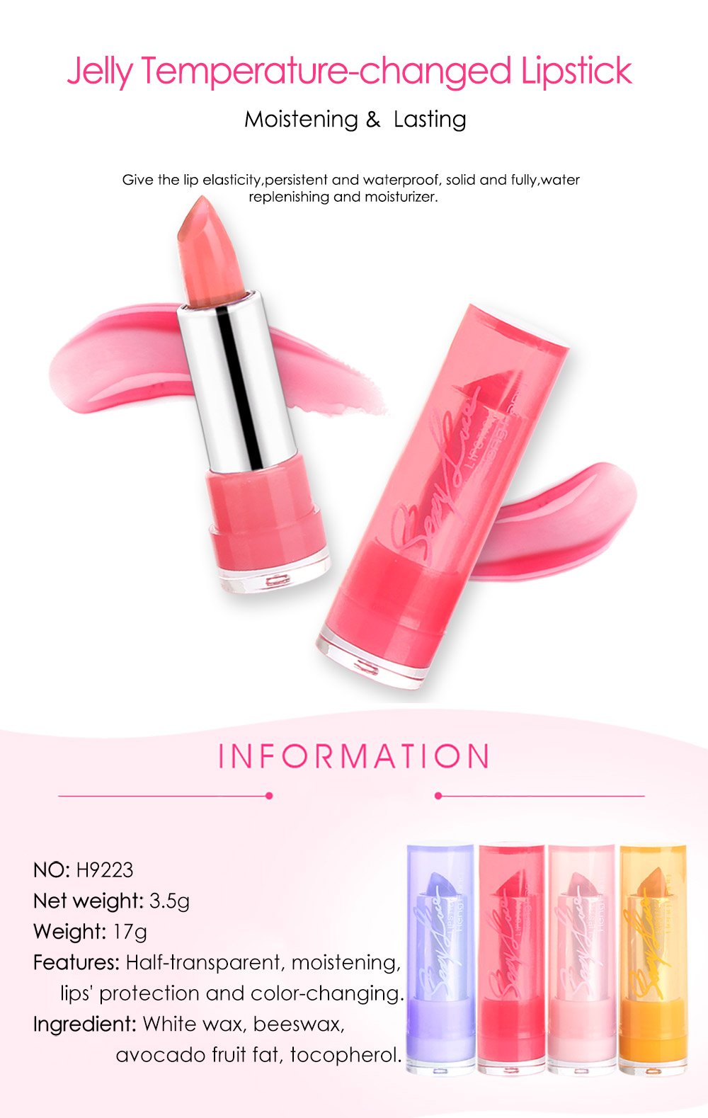 HengFang H9223 Jelly Temperature-changed Lipstick 4 Colors Nutritious Lip Balm