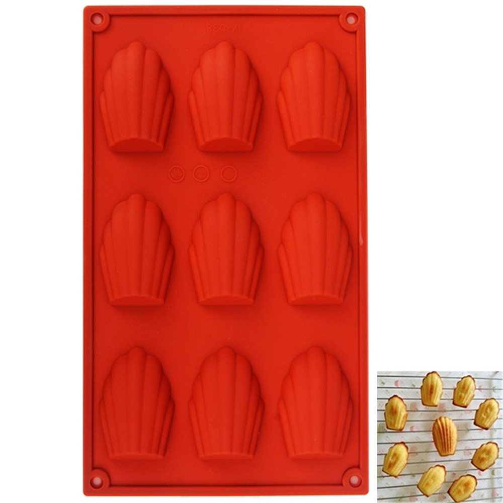 9-HOLE Silicone Scallop Shape Cookie Pudding Chocolate Mold