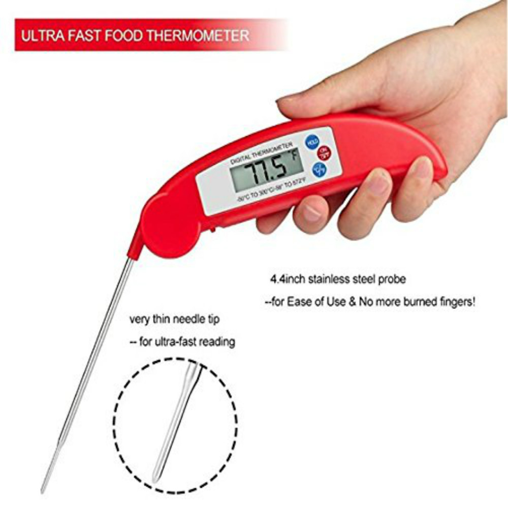 Meat Thermometer Digital Instant Read Thermometer for Kitchen Cooking- Red